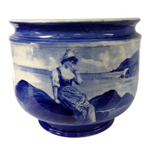 Large Blue Children Jardinière Scene of Dutch girl sitting on rocks by the sea - Royal Doulton Seriesware