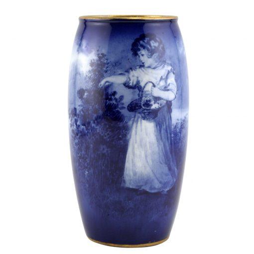 Blue Children Vase Scene of young girl holding basket of flowers - Royal Doulton Seriesware