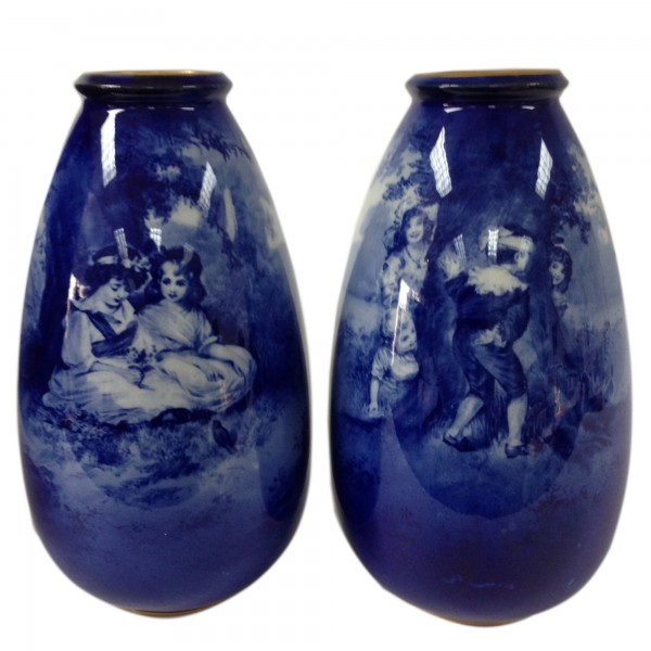 Blue Children Vase Pair Scene of Two Girls Sitting Under a Tree & Scene of Children Playing Hide-and- Seek - Royal Doulton Seriesware