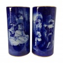 Blue Children Vase Pair Scene of Two Girls Sitting Under a Tree & Scene of Children Playing Hide-and-Seek - Royal Doulton Seriesware