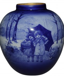 Blue Children Vase Scene of two girls standing under an umbrella - Royal Doulton Seriesware