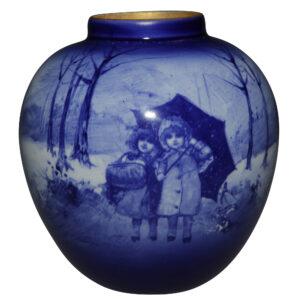 Blue Children Vase Scene of two girls standing under an umbrella - Royal Doulton Seriesware