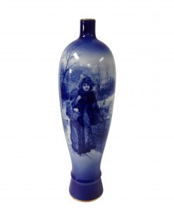 Blue Children Vase Winter scene of woman with basket - Royal Doulton Seriesware