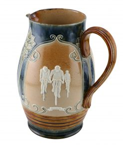 Doulton Lambeth Stoneware Bicycling Pitcher