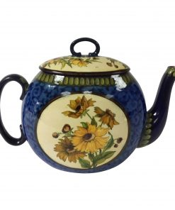 Doulton Lambeth Faience Teapot with Yellow Daisies