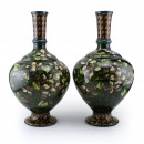 Doulton Lambeth Faience Vase Pair Dark Green with White Flowers
