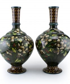 Doulton Lambeth Faience Vase Pair Dark Green with White Flowers