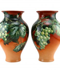 Doulton Lambeth Faience Vase Pair with Green Grapes