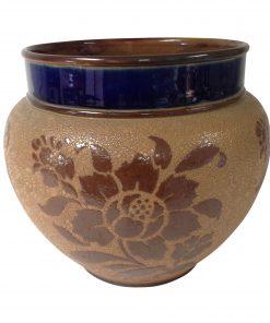 Doulton Lambeth Stoneware Jardinière Brown & Blue