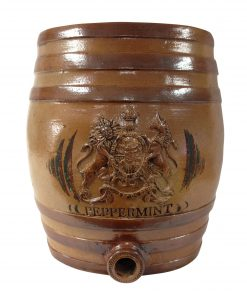 "Doulton Lambeth Stoneware Liquor Barrel with Crest ""Peppermint"""