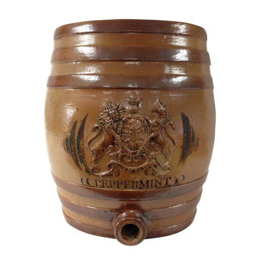 "Doulton Lambeth Stoneware Liquor Barrel with Crest ""Peppermint"""