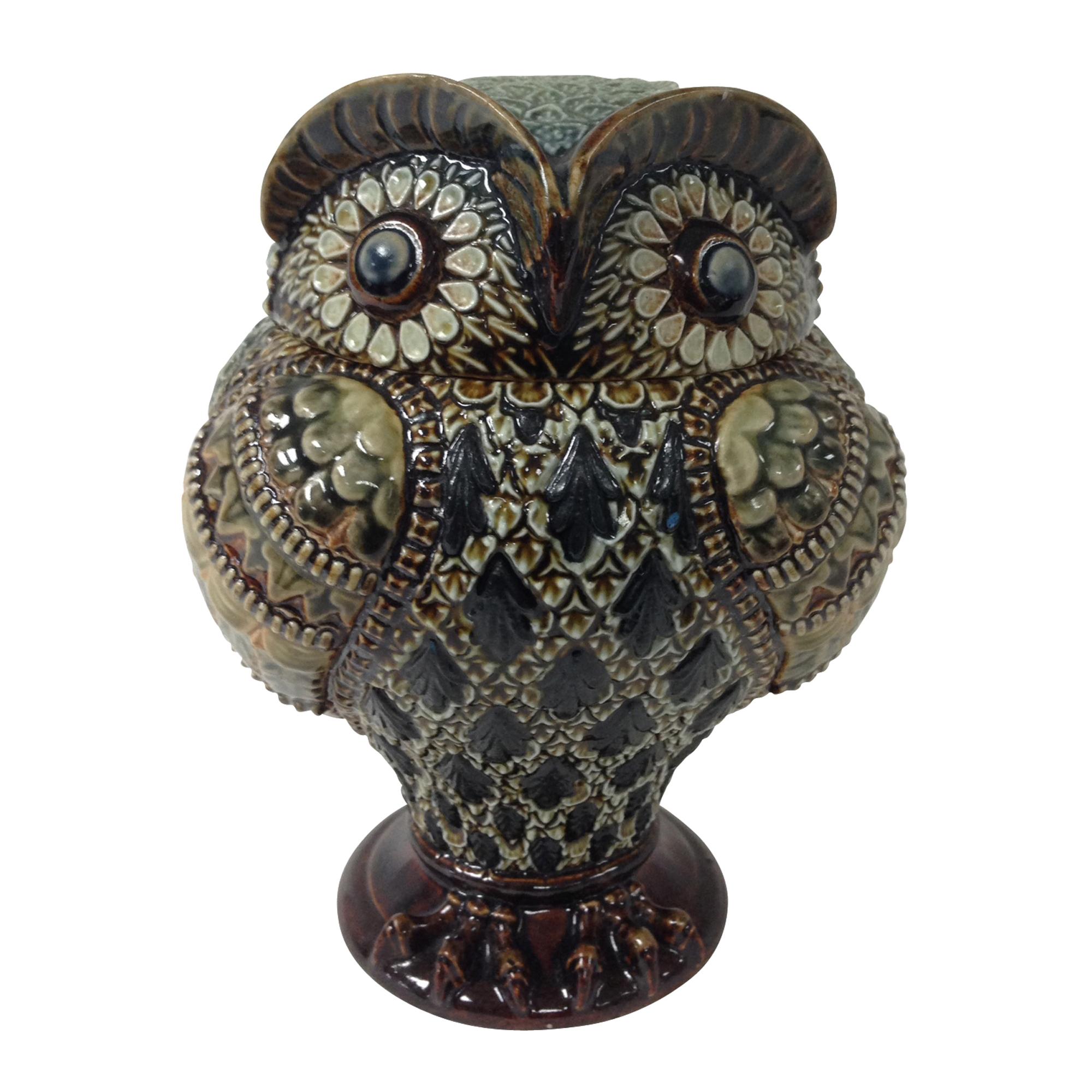 Doulton Lambeth Stoneware Lidded Owl Jar