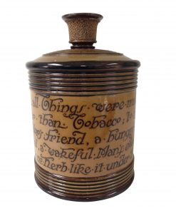 "Royal Doulton Stoneware Tobacco Jar ""When All Things Were Made None Was Made Better Than Tobacco..."" by Charles Kingsley"