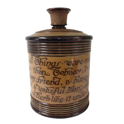 """Royal Doulton Stoneware Tobacco Jar """"When All Things Were Made None Was Made Better Than Tobacco..."""" by Charles Kingsley"""