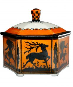 Royal Doulton Lustre Lidded Bowl six sided Scenes of Dancing Imp and Deer - Royal Doulton
