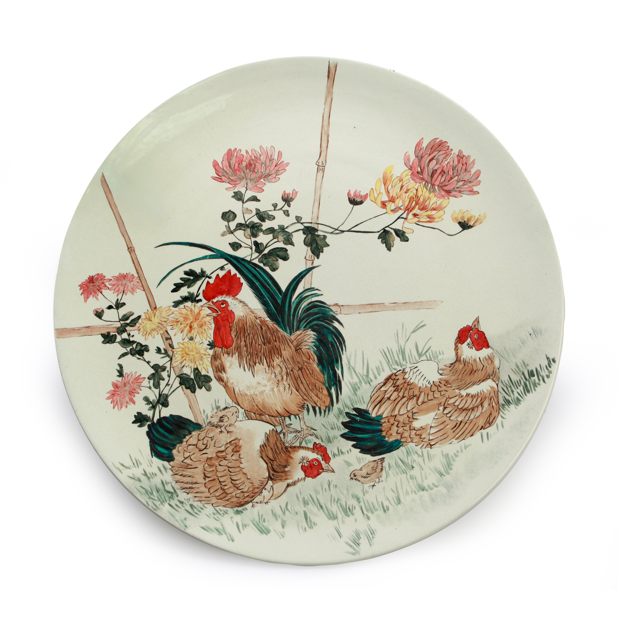 Doulton Burslem Hand Painted Plaque of Rooster and Chickens - Royal Doulton