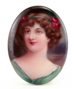 Hand Painted Miniature Plaque of Woman by Leslie Johnson - Royal Doulton