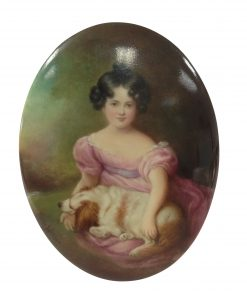 Hand Painted Plaque of Woman with Dog by Leslie Johnson - Royal Doulton