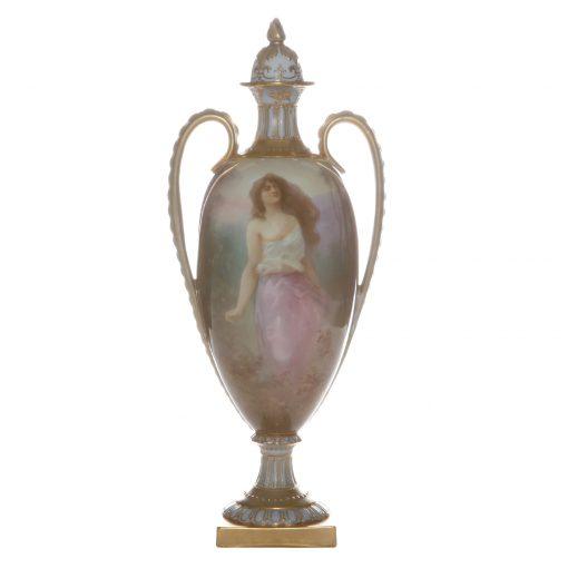 Burslem Hand Painted Lidded Vase Women in field by Leslie Johnson - Royal Doulton
