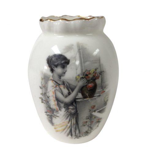 Burslem Miniature Vase - Woman in Garden