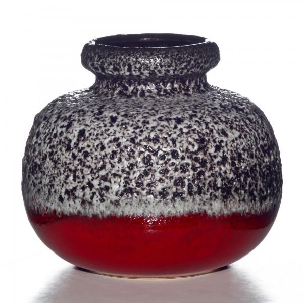 Lava Vase Red White 005