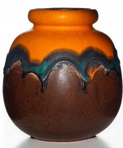Lava Vase Orange Brown 020