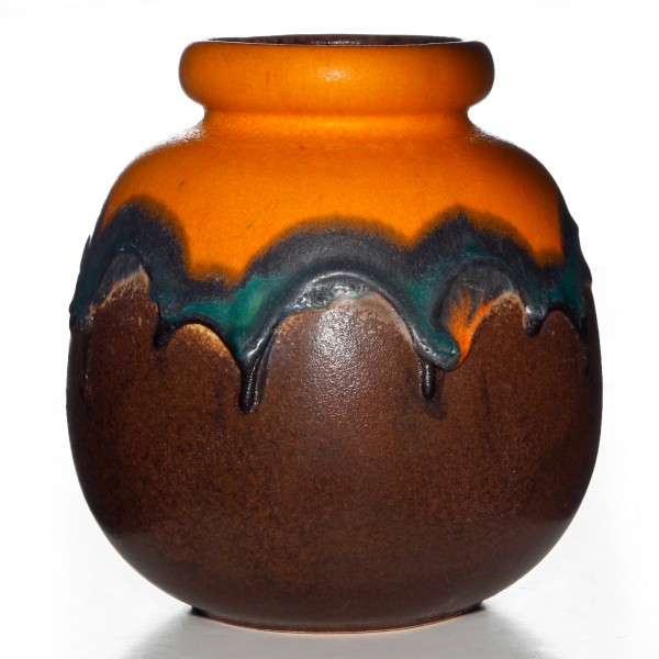 Lava Vase Orange Brown 020