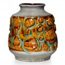 Lava Vase Brown Turq 022