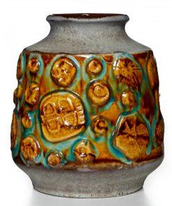 Lava Vase Brown Turq 022