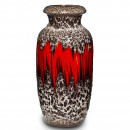 Lava Vase Red White 034