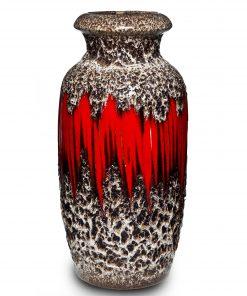 Lava Vase Red White 034
