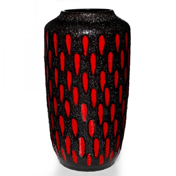 Lava Vase Red Black 038