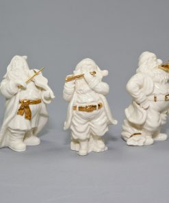 White Lenox Santa Claus playing Musical Instrument 3 piece set