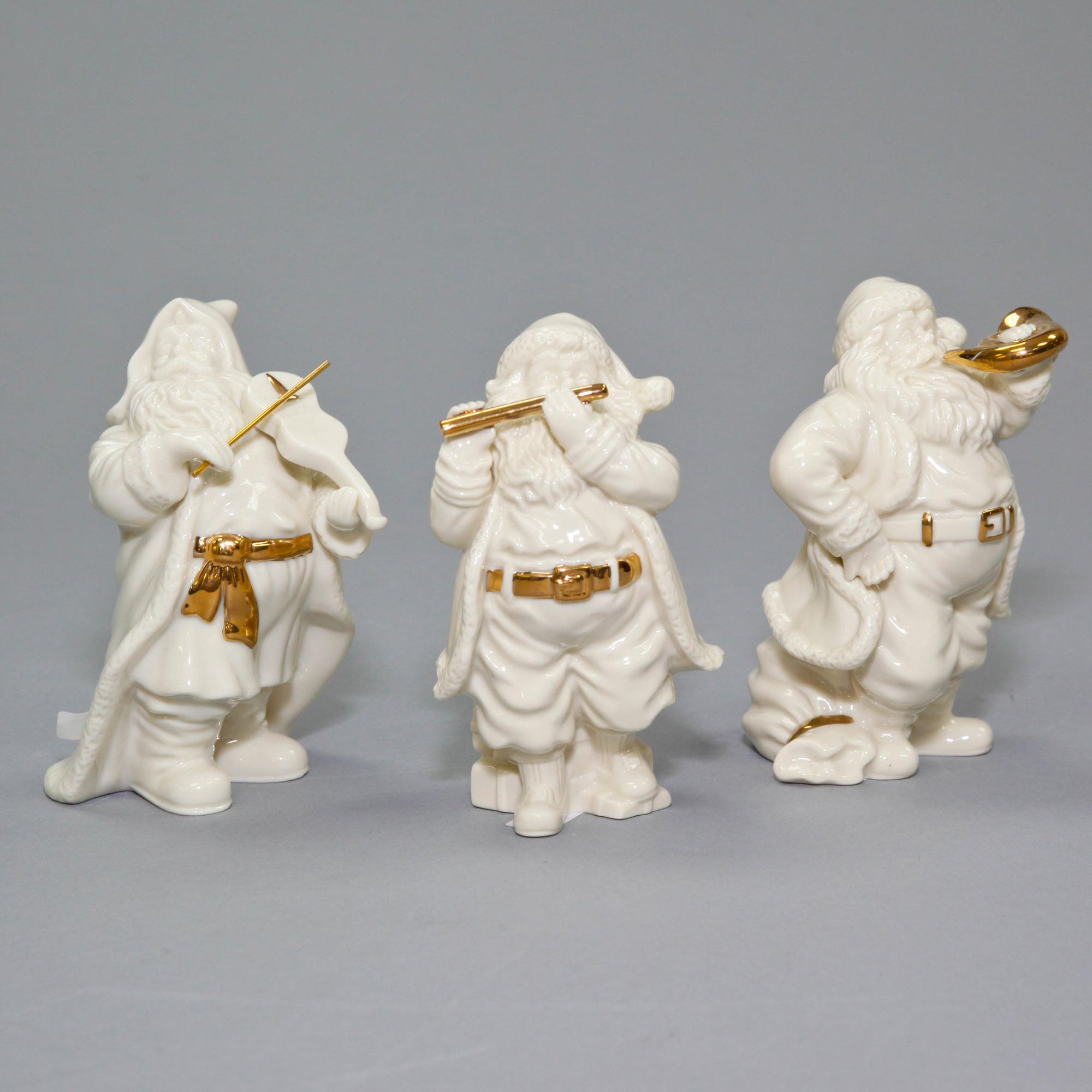 White Lenox Santa Claus playing Musical Instrument 3 piece set