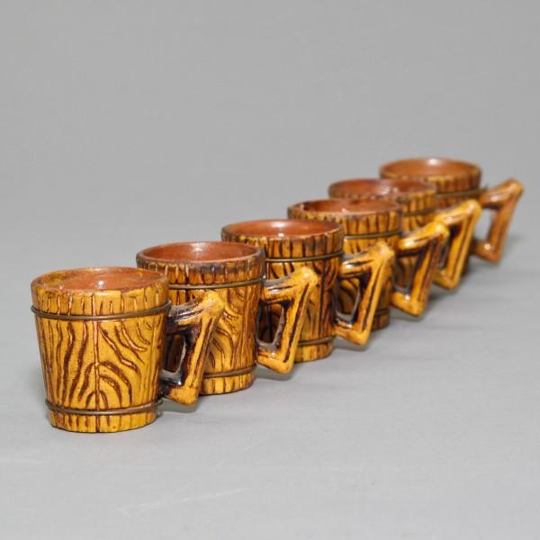 Japanese Cerarmic Barrel Saki Cups 6 piece set