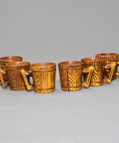Japanese Cerarmic Barrel Saki Cups 6 piece set