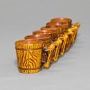 Japanese Cerarmic Barrel Saki Cups 6 piece set 4