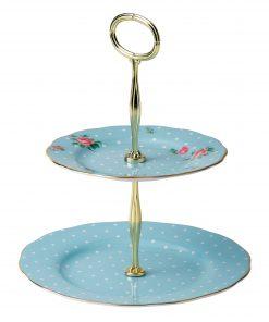 Polka Blue Vintage 2-Tier Cake Stand