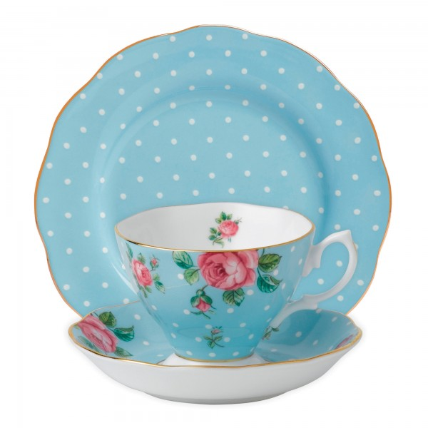 Polka Blue 3pc Set (Includes: Teacup, Saucer and Plate)