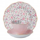 New Country Roses (Confetti) 3pc Set (Includes: Teacup, Saucer and Plate)