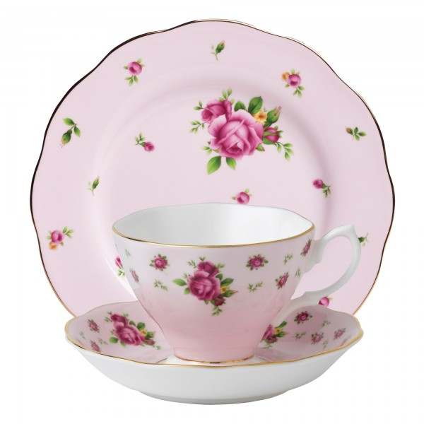 (Pink) 3pc Set (Includes: Teacup, Saucer and Plate)