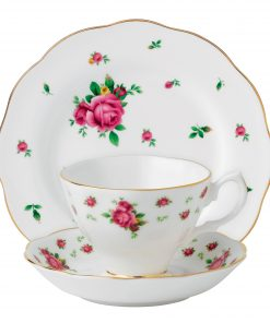 New Country Roses (White) 3pc Set (Includes: Teacup, Saucer and Plate)