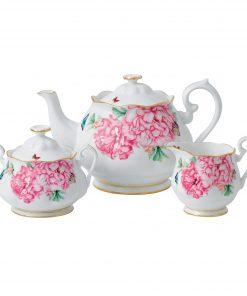 "Miranda Kerr for Royal Albert Collection - 3pc Teapot, Sugar and Creamer Set ""Friendship"" Pattern"