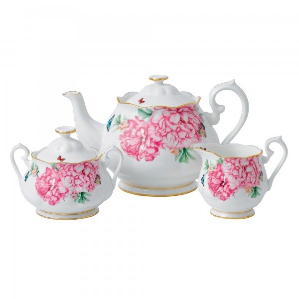 "Miranda Kerr for Royal Albert Collection - 3pc Teapot, Sugar and Creamer Set ""Friendship"" Pattern"