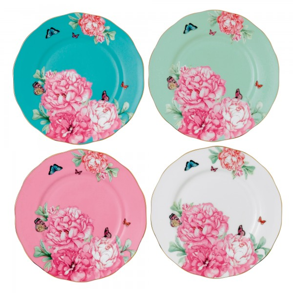 """Miranda Kerr for Royal Albert Collection -  Set of 4 Accent Plates """"Friendship"""" Pattern"""