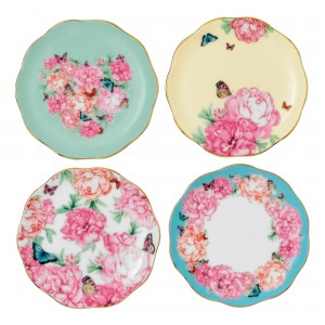 Miranda Kerr for Royal Albert Collection -  Set of 4 Tidbit Plates (Patterns include: Blessings, Joy, Gratitude and Devotion)