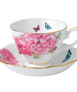 "Miranda Kerr for Royal Albert Collection - 2pc. (White) Teacup and Saucer Set ""Friendship"" Pattern"