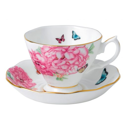 """Miranda Kerr for Royal Albert Collection - 2pc. (White) Teacup and Saucer Set """"Friendship"""" Pattern"""