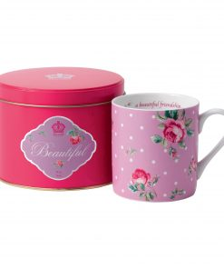 "New Country Roses ""Beautiful"" Mug in Tin"
