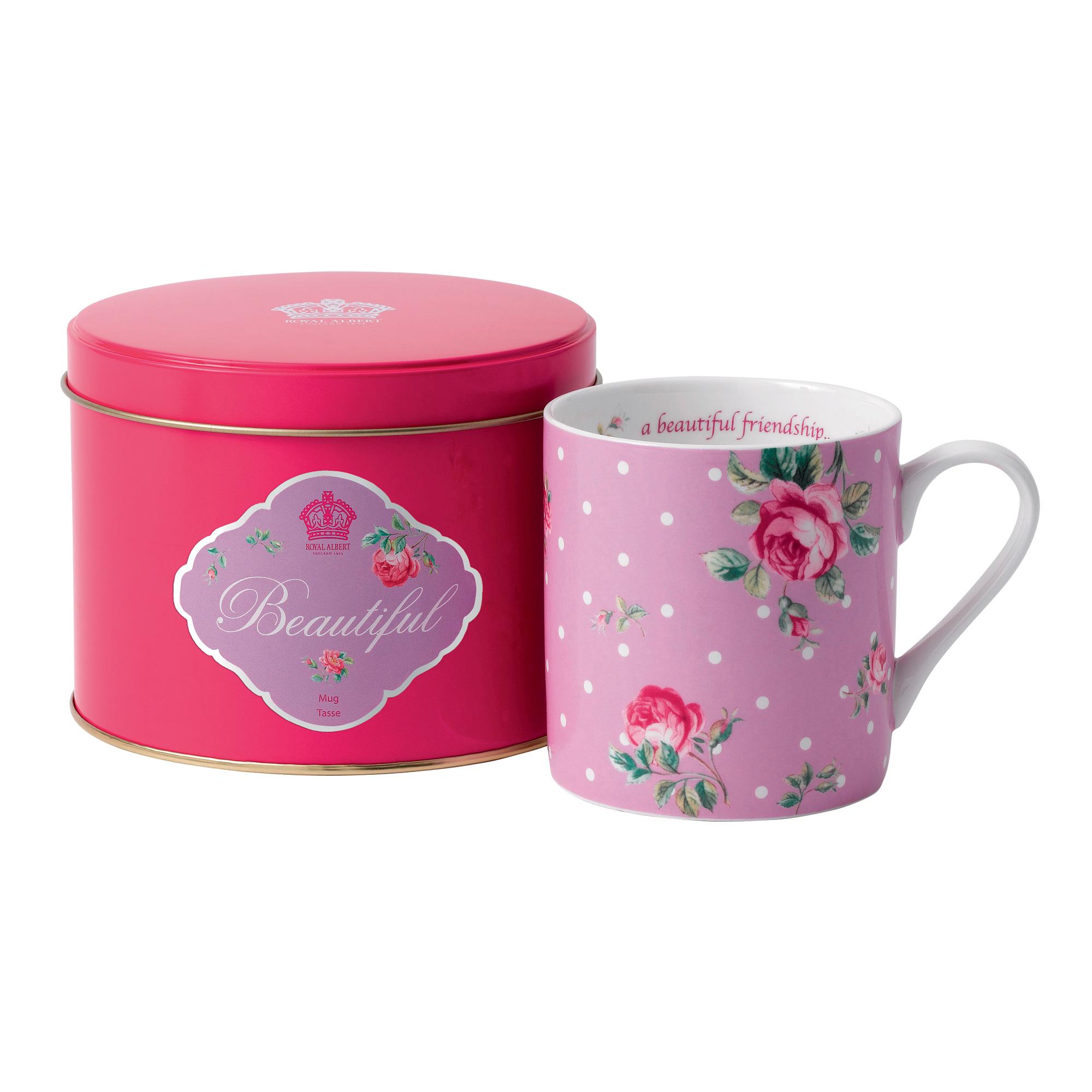 "New Country Roses ""Beautiful"" Mug in Tin"